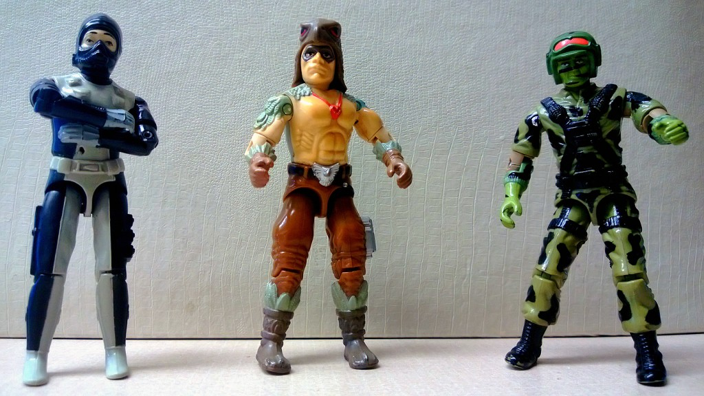 The first three of my rebuilt G.I. Joe action figures: Torpedo (1983), Raptor (1987) and Hit & Run (1988)