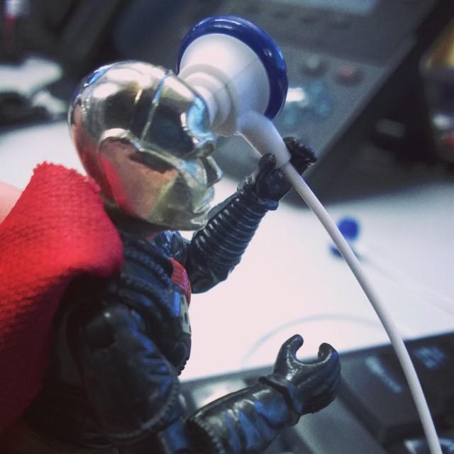 Destro takes calls at work.